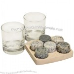Sea Stones 6 Round Whiskey Stones 2 Glass Tumblers Wooden Tray Granite Rock Set