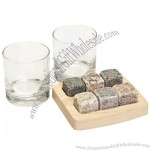 Sea Stones 6 Square Whiskey Stones 2 Glass Tumblers Wooden Tray Granite Rock Set