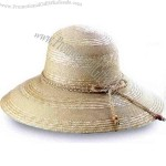 Sewn braid ladies' straw hat with hand crocheted string decoration