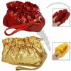 Shiny Sequin Accent Removable Wrist Strap Cocktail Zip Bag Small Pouch Purse for Lady
