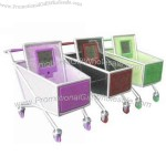 Shopping cart pen holder with time display.