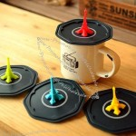 Silicone Airtight Cup Mug Cover Wrapping Lid Sealer Topper w/ Eiffel Tower Style Handle