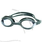Silicone and polycarbonate swimming goggle.