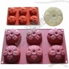 Silicone Cake Mold Mould Muffin Cups Cake Pan Soap Ice Chocolate Mold 6-Five Petal Flower Mold