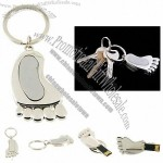 Silver Foot USB Flash Drive Keychain