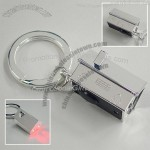 Silver Plated House Keychain with Red LED light