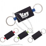 Simulated Leather Double Ring Key Tag