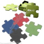 Single connectible puzzle shape leatherette coaster
