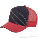 Six panel poly-foam front cap with mesh back and sandwich bill.
