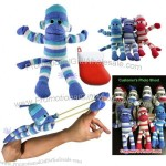 Slingshot Flying Striped Sock Monkey in the Christmas Socks With Screaming Sound
