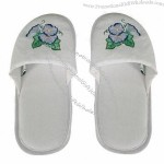 Slipper With Off White Linen Material