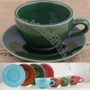 Slow Living Colored Ceramic Coffee Cup With Saucer