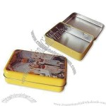 Small Tin Box Case with Hinged Lid