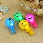 Smiley Doll With LED Light Whistle Keychain