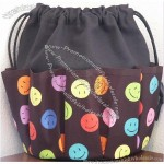 Smiley Faces on Black Canvas Bingo Bag Tote 10 Dauber Pockets