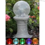 Solar Color-Changing Crackled Glass Gazing Ball with Pedestal