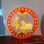 Solar height limit sign, regulatory sign with solar power, LED bulbs and reflective sheeting