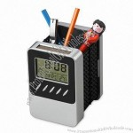 Solar LCD Calendar Clock Pen Holder