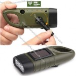 Solar Power & Hand Crank Flashlight with Carabiner