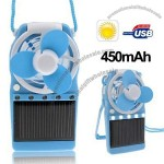 Solar Powered Portable Fan with 5 LED Lights