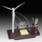 Solar wind Generator Model Desk Gift Set with Pen Holder Clock Memo