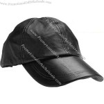 Solid genuine leather baseball cap.
