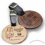 Solid Wood Golf Bag Tag with Leather Strap