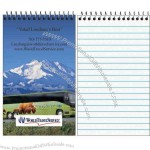 "Spiral bound memo book with 50 sheets of 1/4"" faint line ruled paper"