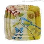 Square Glass Plate With Colorful Decal