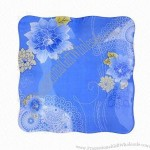 Square Shaped Glass Plate with Blue Decal