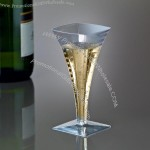 Squares Mini Champagne Flute, 2 oz 96 Disposable Clear Plastic Glasses