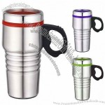 Stainless Steel 16oz/450 ML USB Travel Mug Auto Mug with Plastic Handle