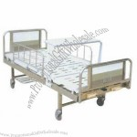 Stainless Steel Double Crank Hospital Bed, Stainless Steel Head and Foot Board, Turing Table