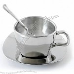 Stainless Steel Double-Wall Coffee Mug With Saucer