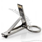 Stainless Steel Fingernail Nail Clipper USB Flash Drive with Keyring