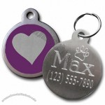 Stainless Steel Heart Print Pet ID Tag