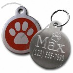 Stainless Steel Paw Print Pet ID Tag