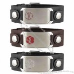 Stainless Steel Snap Leather Medical ID Bracelets