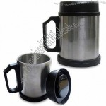 Stainless Steel Travel Mug with Lid and Wide Base