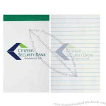 Stapled and stripped custom printed memo book with 50 perforated sheets