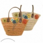 Straw Tote Bag W/Flowers