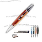 Streamlined shape rollerball pen hand formed from a solid bar of high-grade acrylic