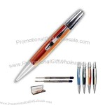 Streamlined shape rollerball pen hand formed from a solid bar of high-grade acrylic.