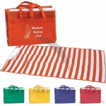 Striped Beach Mat Tote Bag with Pillow