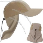 Sun blocking cap with foldable neck flap and and extra long visor