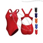 Swimwear with panel seam for appearance of higher cut leg.