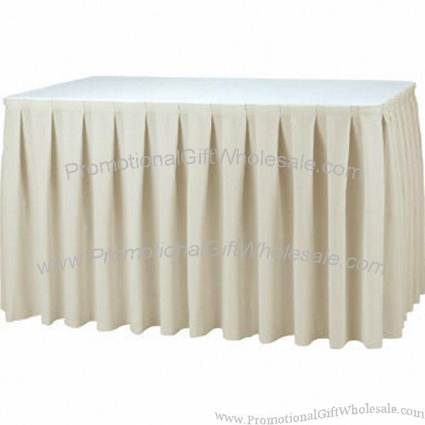 table skirting Complete your party table with our plastic white table skirt with easy adhesive backing, this white table skirt is easy to put up and take off your party table.