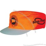 Ten mile orange safety cap. Muslin with molded visor, elastic back and more.