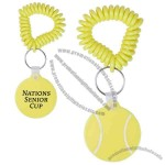 Tennis ball shaped vinyl key fob with coil wristband