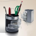 Three Layers Plastic Pen Caddy With Paper Clips, Staples Holder